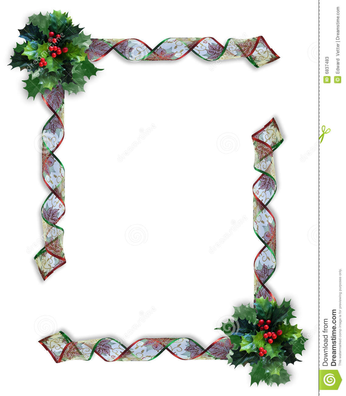 Christmas ribbons frame or border stock illustration