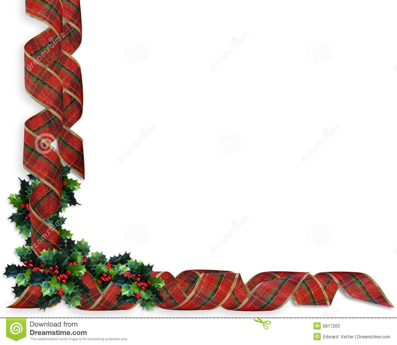 Christmas ribbons holly border stock illustration