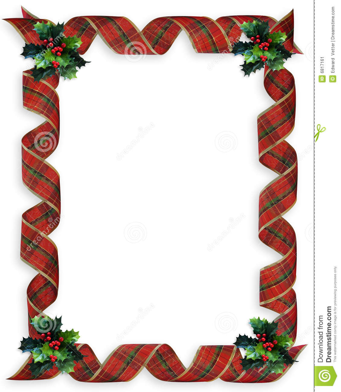 Christmas ribbons holly border frame stock illustration
