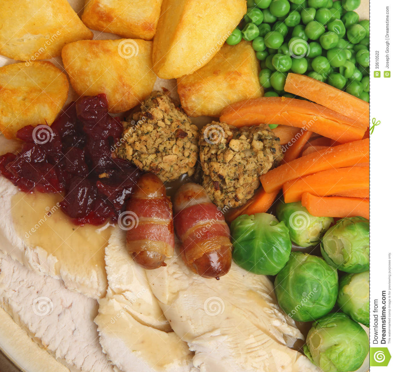 Christmas Roast Turkey Dinner Stock Photography - Image: 33610522