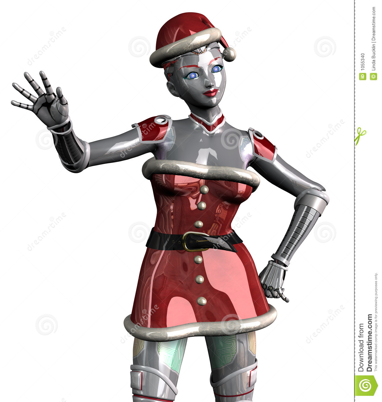Christmas Robot Waving - With Clipping Path Stock Photo - Image ...