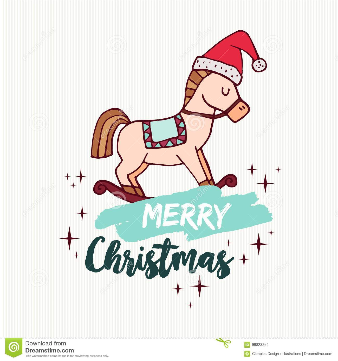 Christmas Rocking Horse Toy Holiday Cartoon Card Stock Vector Illustration Of Doodle Background 99823254