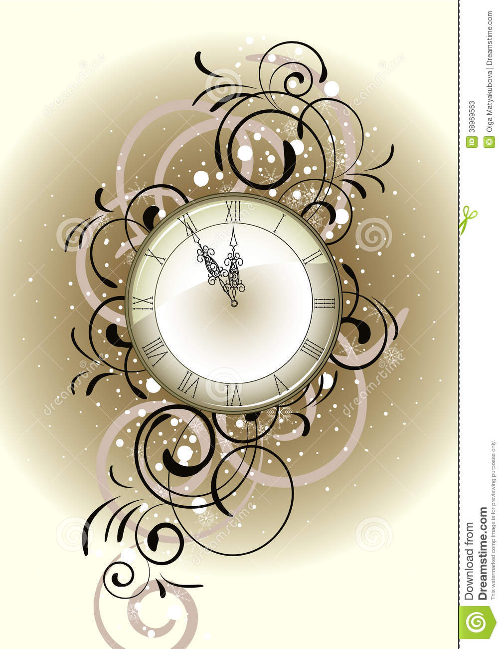 Christmas romantic design with antique clock stock vector image 38969563 - Antique clock designs for your home ...