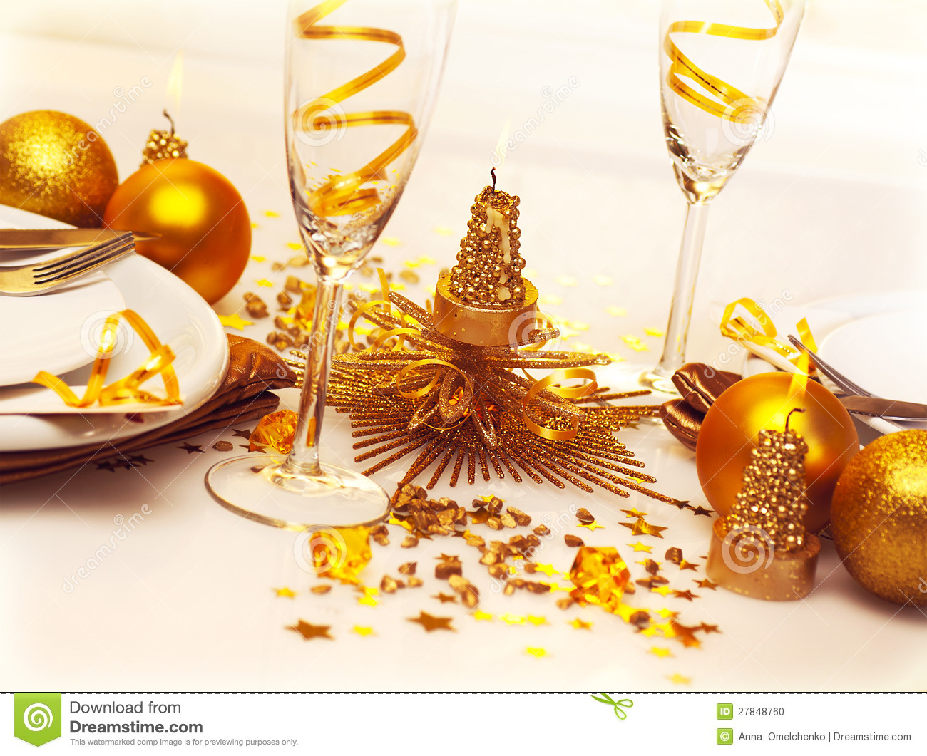 Christmas Romantic Table Setting Stock Photo Image 27848760
