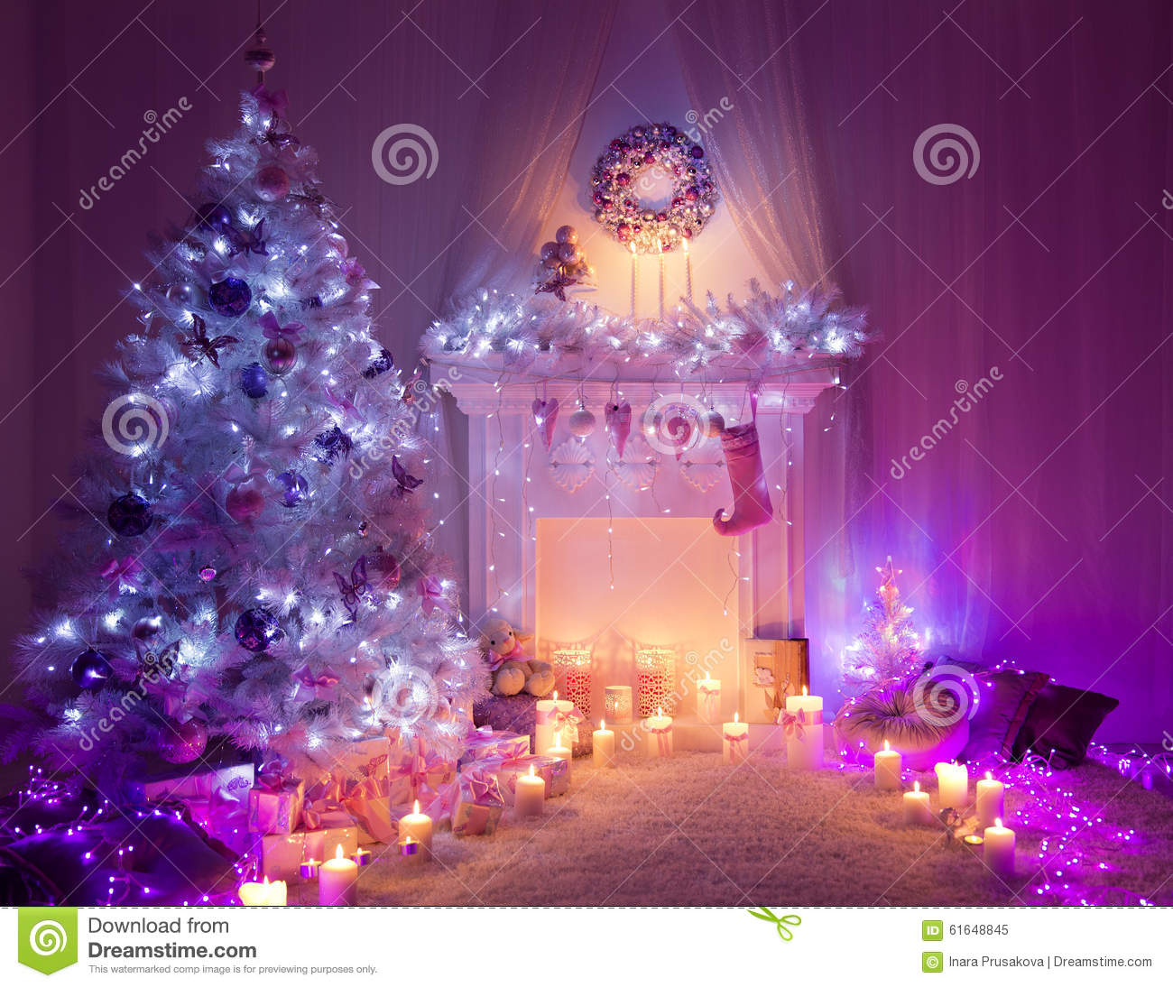 christmas room fireplace tree lights xmas interior home decor stock image image 61648845. Black Bedroom Furniture Sets. Home Design Ideas