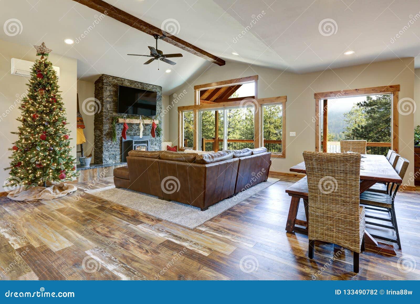 Living Room Interior With Christmas Decor Stock Photo ...