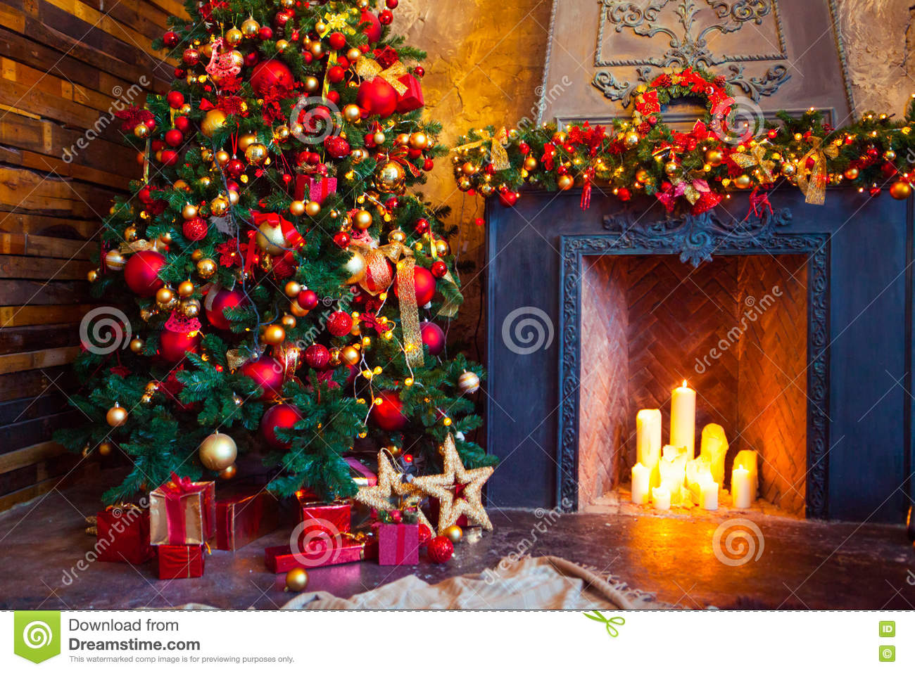 Presents Toys Christmas : Christmas room interior design xmas tree decorated by