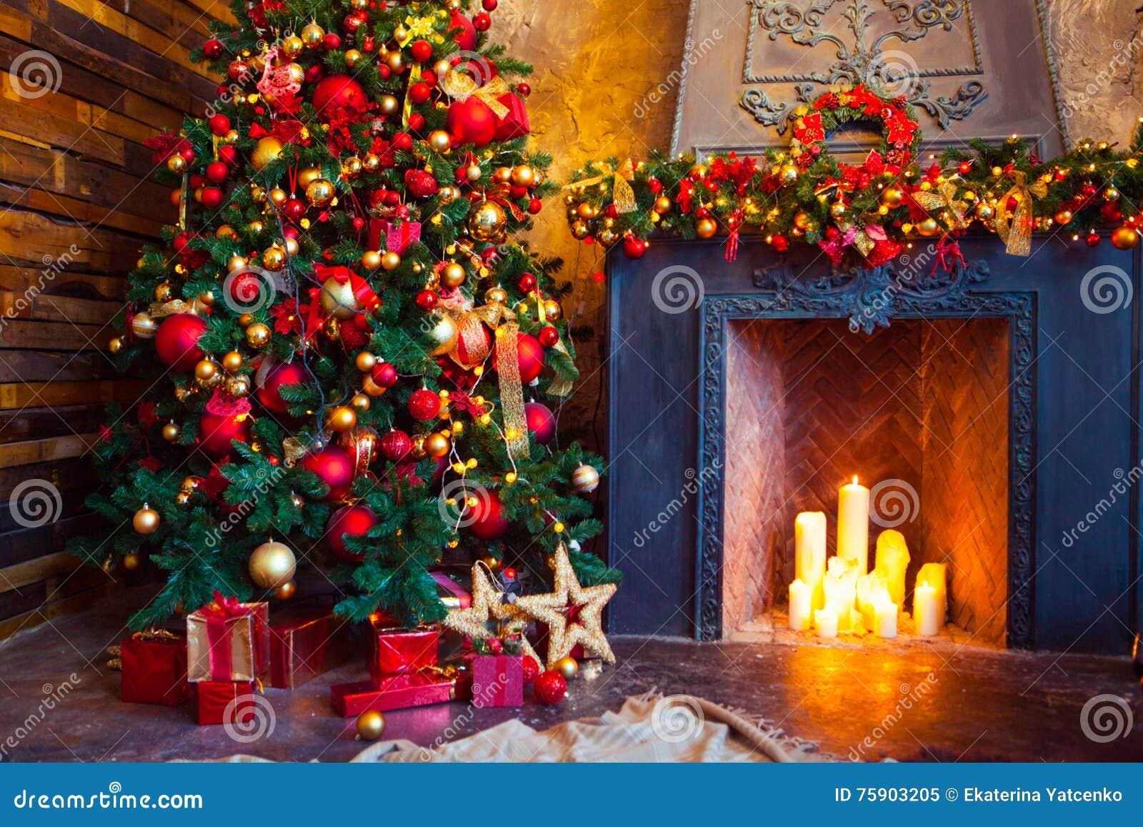 Christmas Room Interior Design Xmas Tree Decorated By Lights Pr Stock Photo Image 75903205