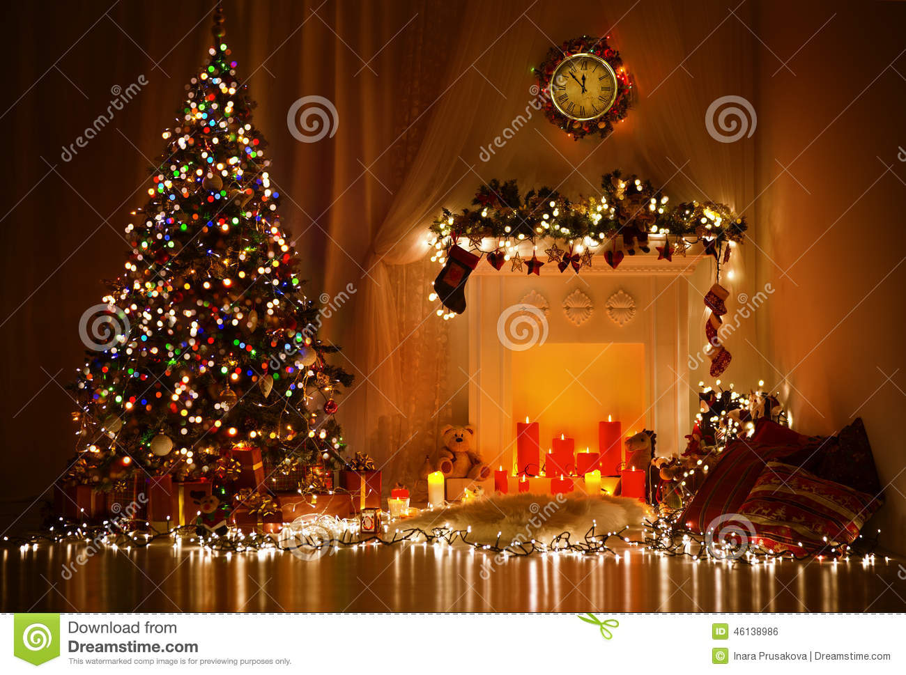 Christmas tree fireplace lights decorated xmas living for Xmas room design