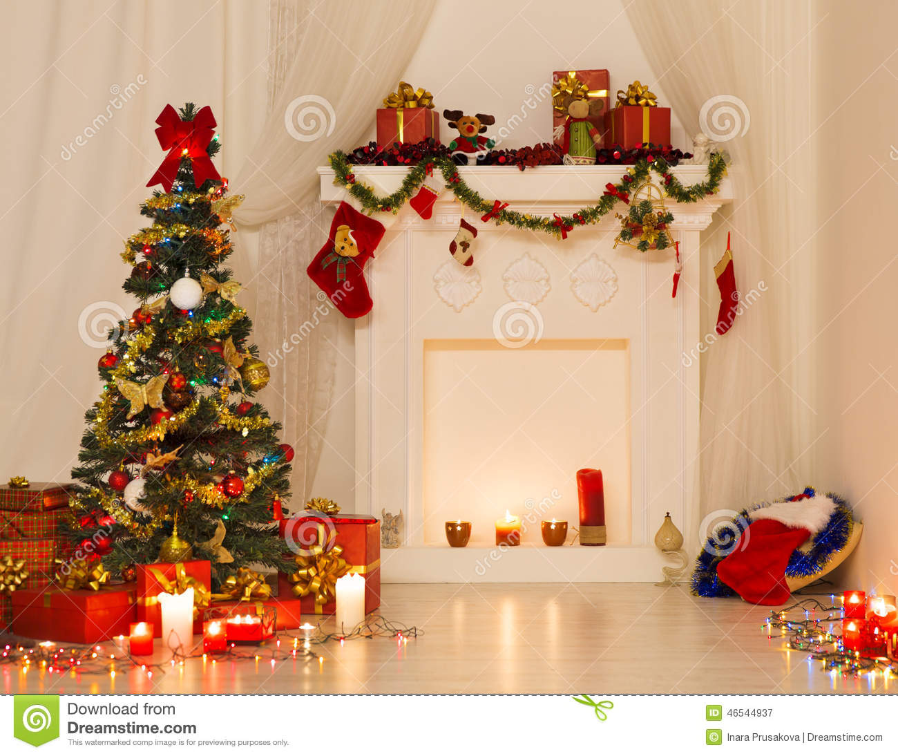 Christmas room interior design xmas tree decorated by for Interior design gifts