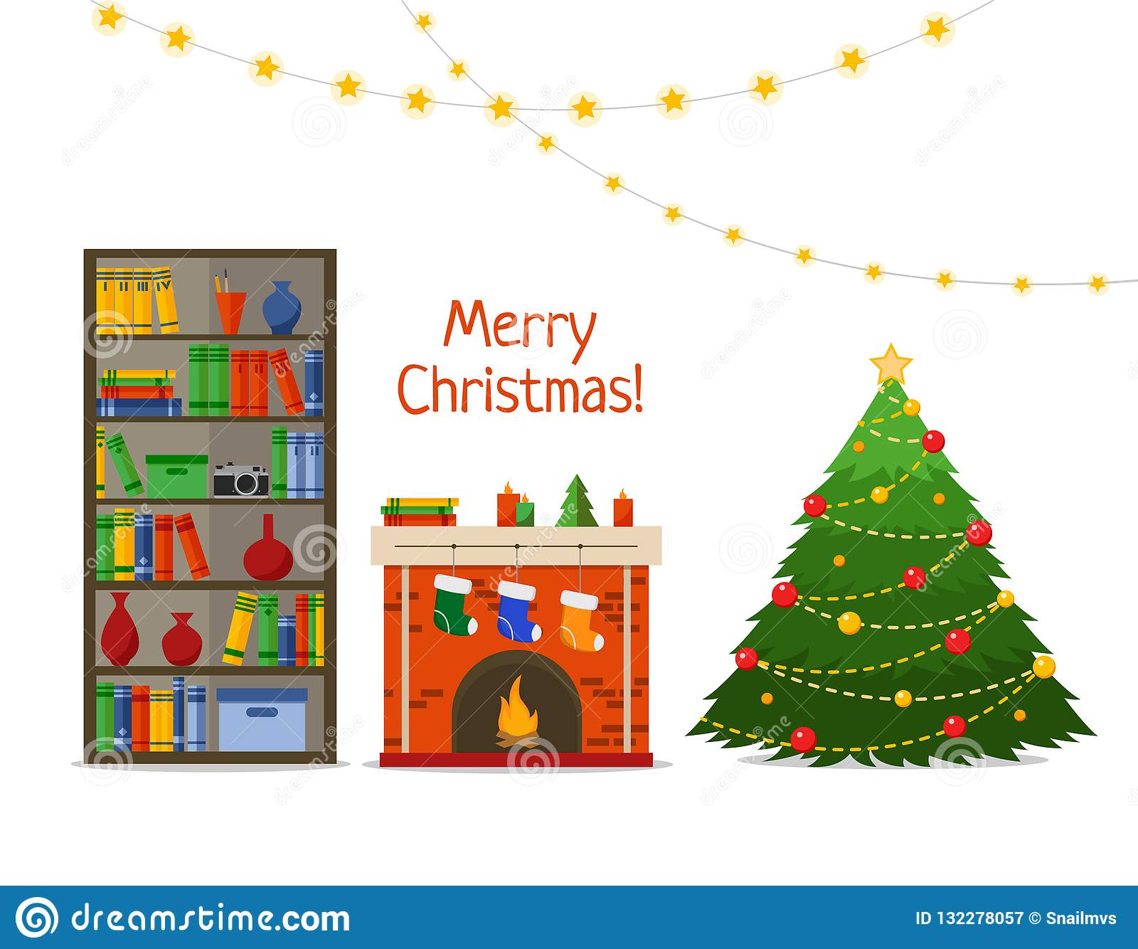 Christmas room interior. Christmas tree and fireplace with gifts, socks in library, Flat style vector illustration.