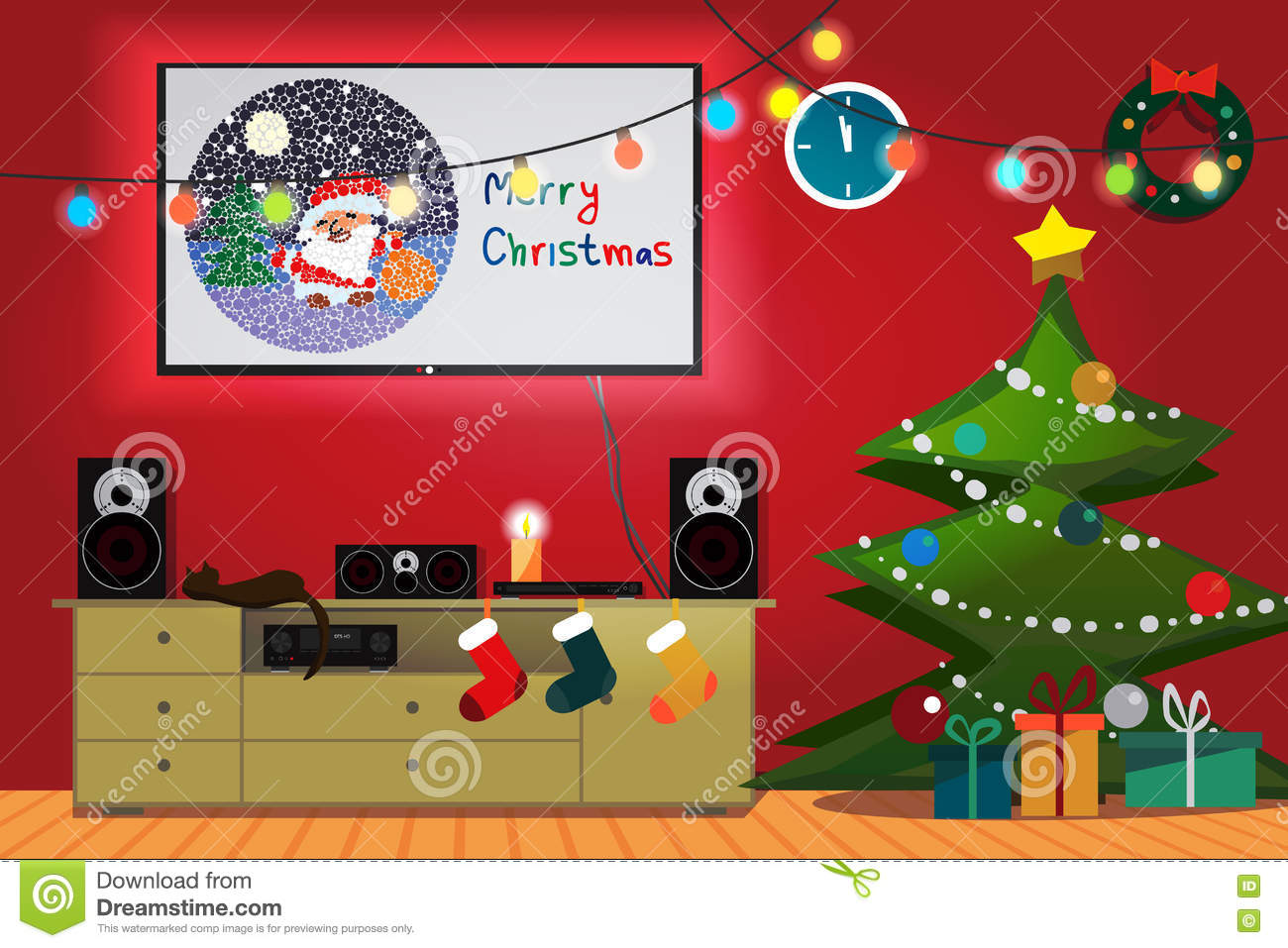 christmas room interior christmas tree gift socks and decoration tv loudspeakers receiver for home movie theater and music in the apartment