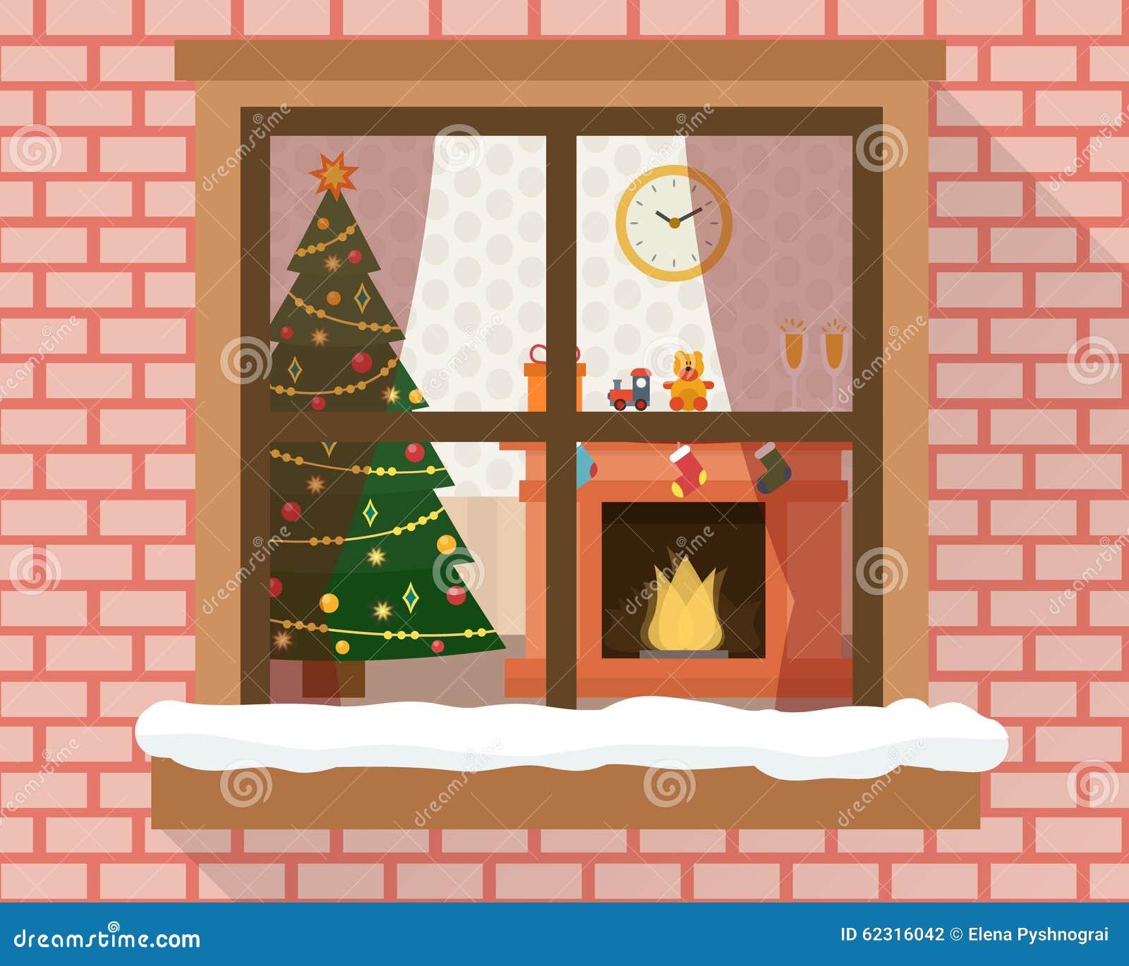 Christmas room through the window stock vector image