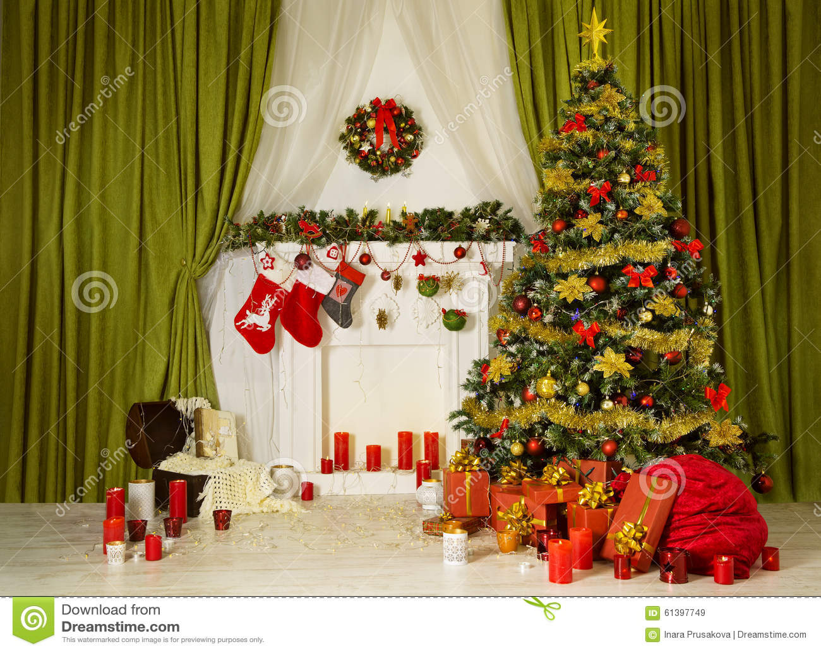 christmas room xmas tree decorated home interior fireplace sock