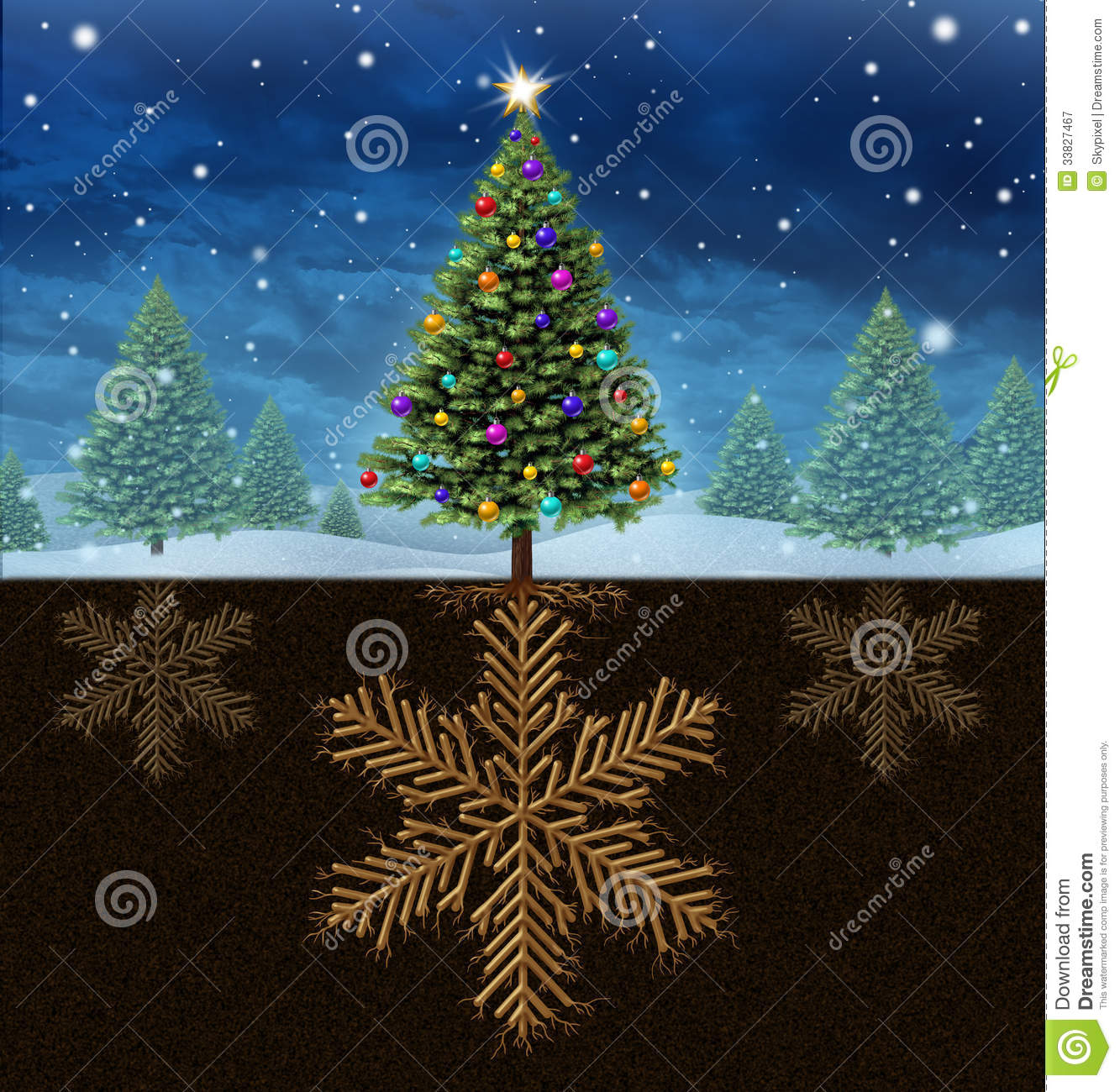 Rooted Christmas Tree: Christmas Roots Stock Illustration. Image Of Dimensional
