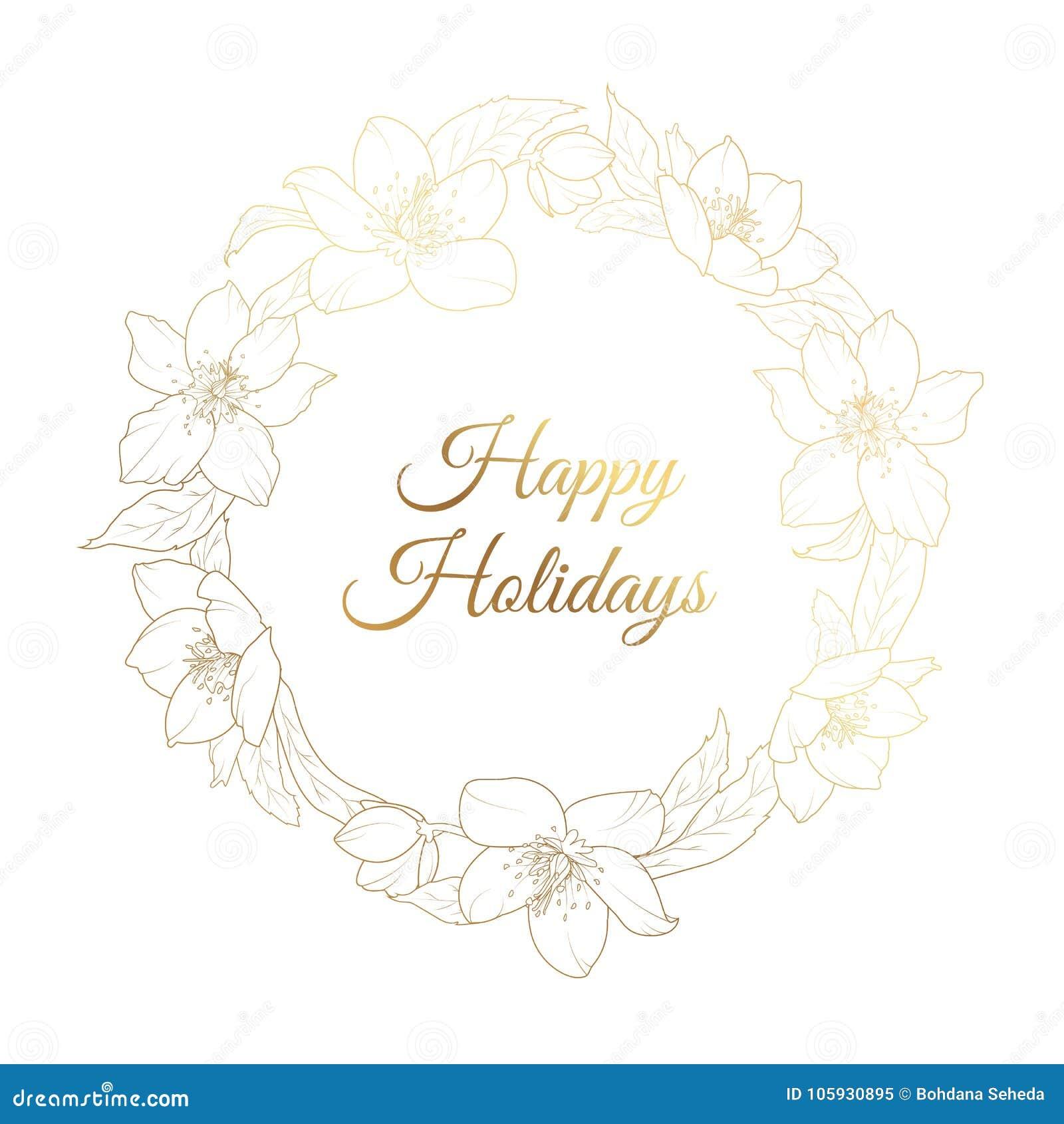 christmas rose hellebore flowers wreath template stock vector