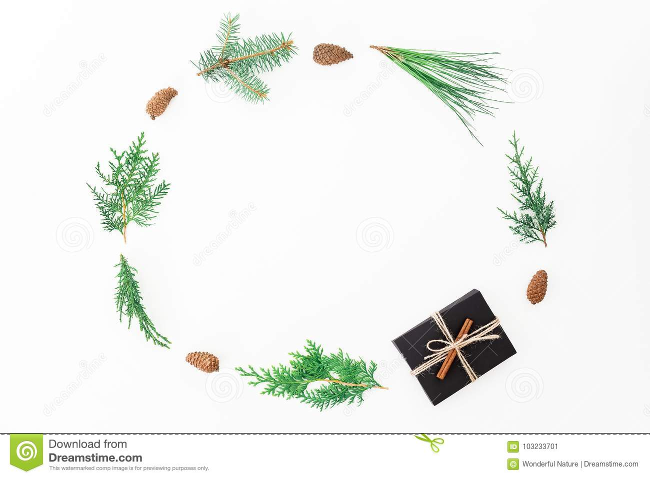 Christmas Round Frame Made Of Gift Box, Branches And Pine Cones On ...
