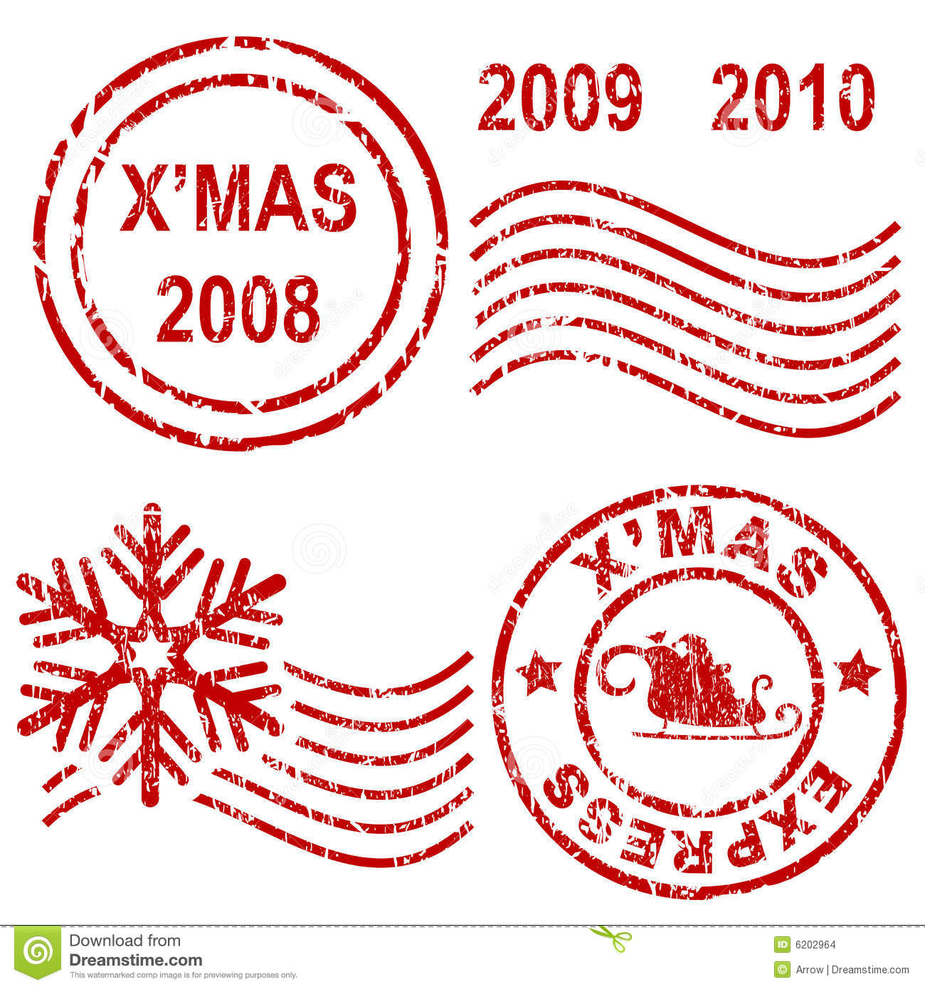 Christmas Rubber Stamps Stock Images - Image: 6202964