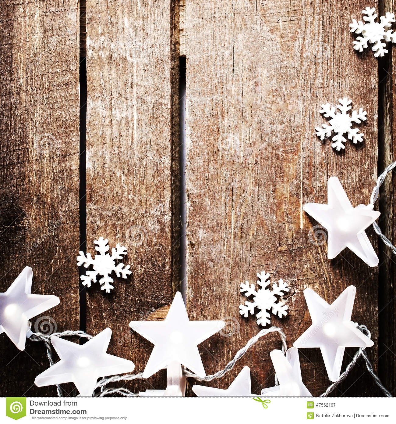 Christmas Rustic Background With Lights, Snowflakes, Stars And F ...