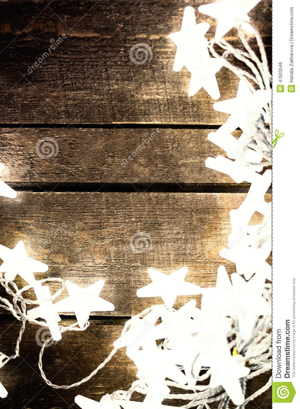 Christmas Rustic Background With Lights Snowflakes Stars