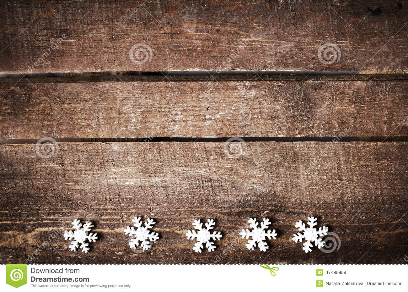 Christmas Rustic Background With White Snowflakes And Free Text ...