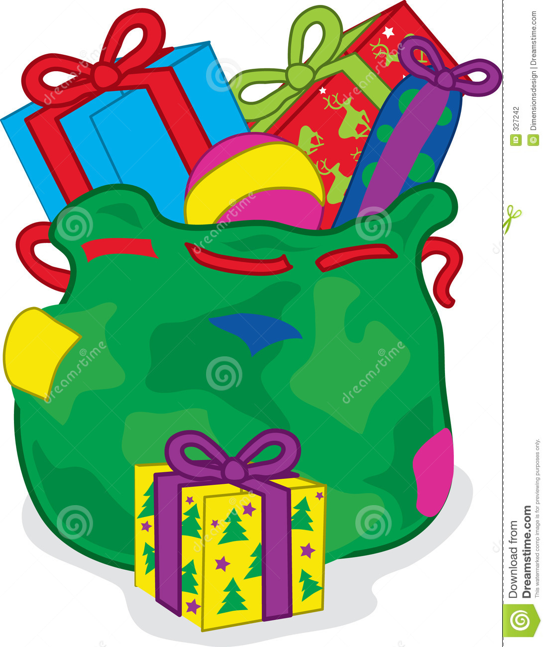 Full Color Vibrant Illustration Of A Christams Sack With Presents