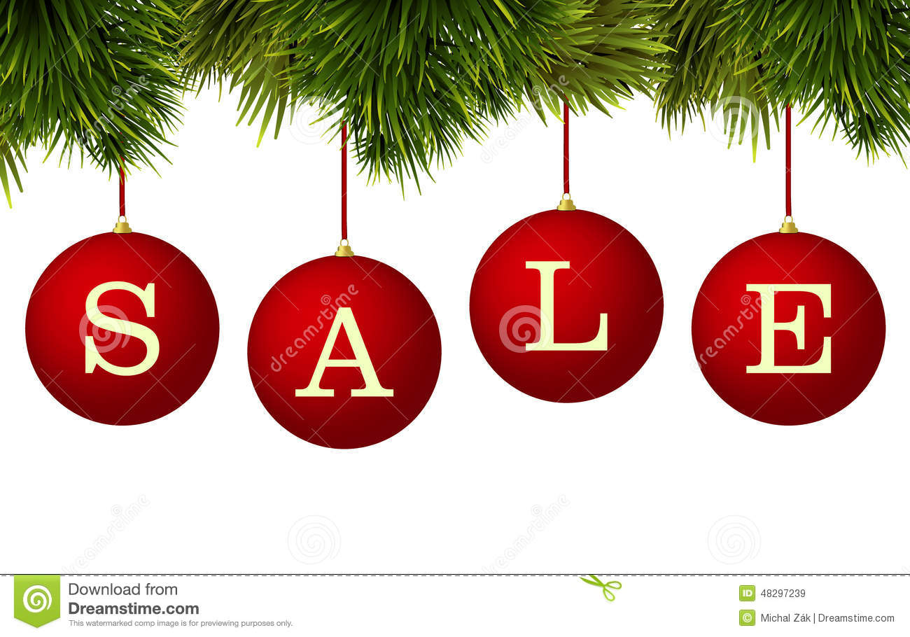 Christmas Sale Banner Advertisement - Red Baubles With Pine ...
