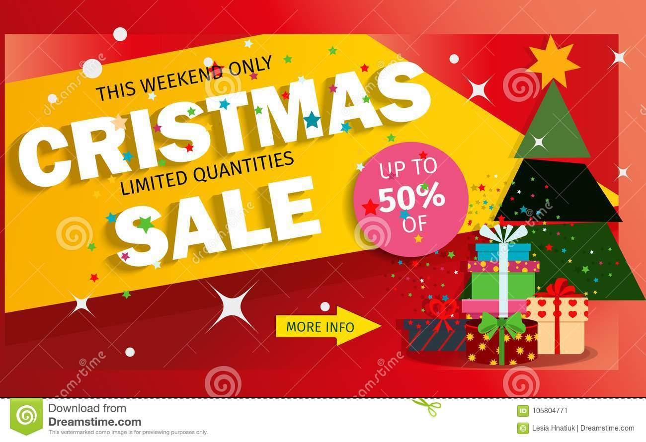 Christmas Sale Banner Advertising Background Holiday Discount Xmas ...