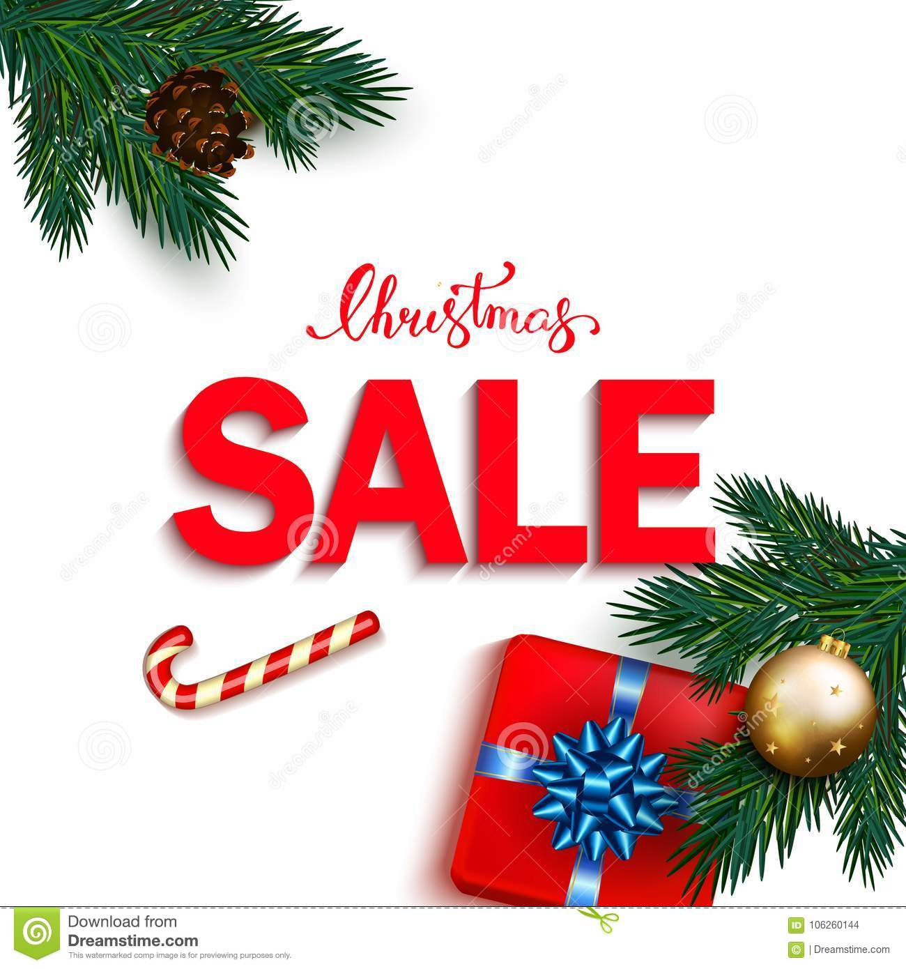 Christmas Sale Banner With Box Gifts With Bow, Candy Cane, Bubbl ...