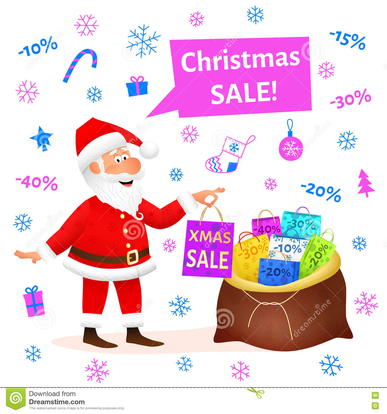 christmas sale flat funny old man character holding xmas gift on white background discount