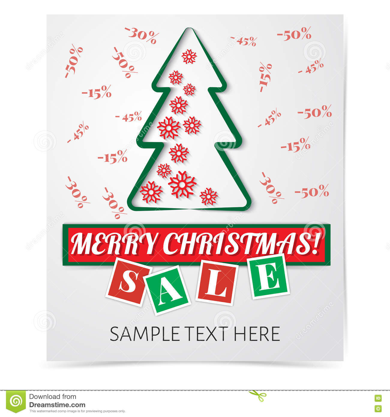 christmas flyer paper cut style discount stock vector christmas flyer paper cut style discount