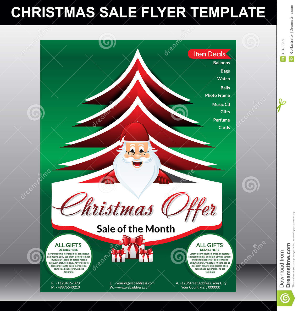 Christmas sale flyer template stock vector image 46435982 for Christmas brochure template