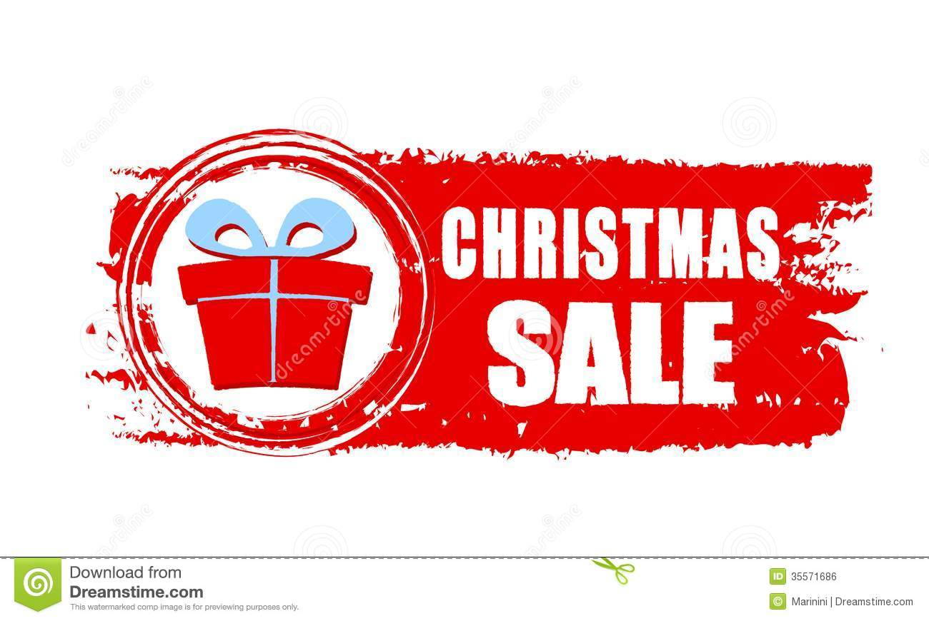 Christmas Sale And Gift Box On Red Drawn Banner Stock Photo - Image ...
