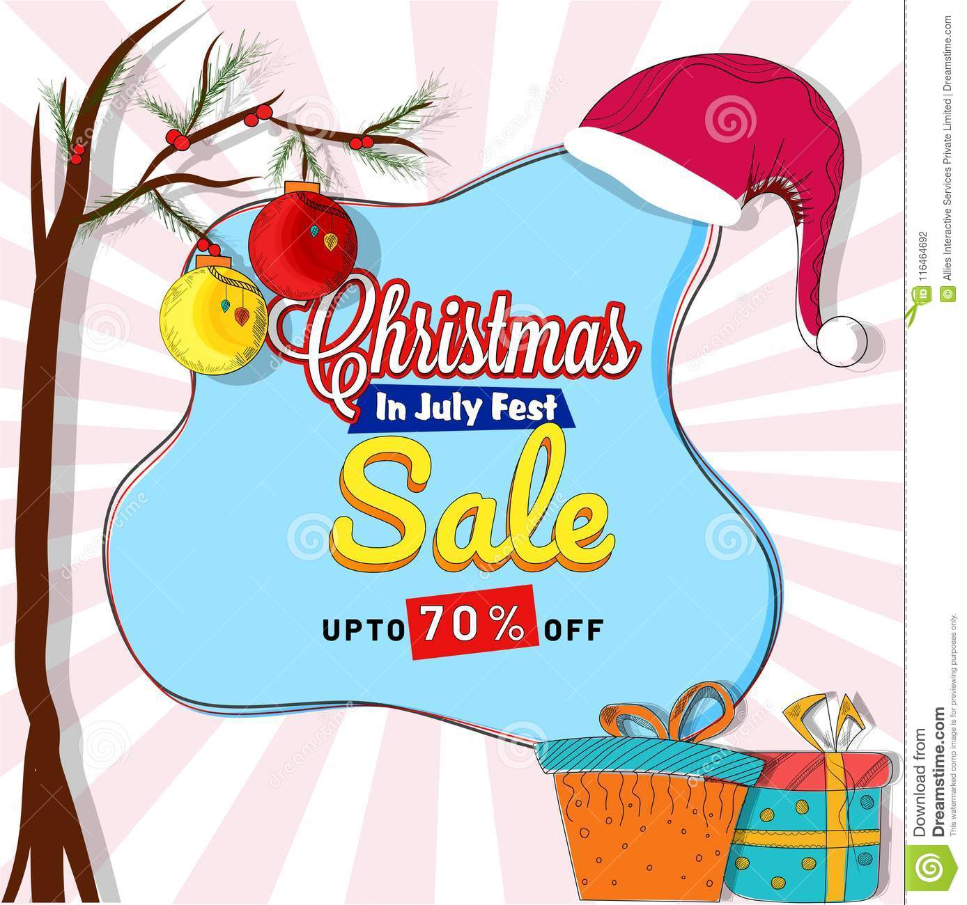 Christmas In July Party Clipart.Christmas Sale In July Poster Banner Or Flyer Design With