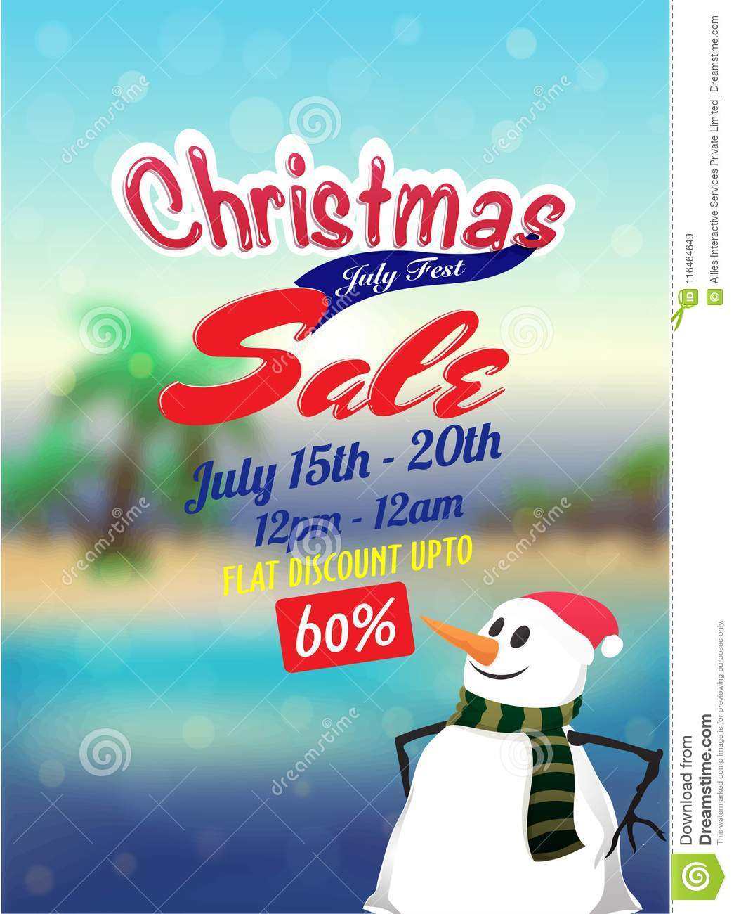 Christmas Sale In July Poster Banner Or Flyer Design With Snow