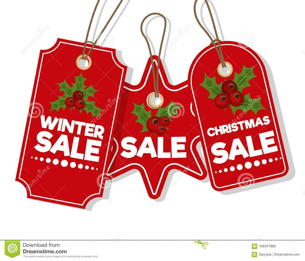 Christmas Sale Paper Tag Banner Holiday Discount Xmas Winter Offer ...