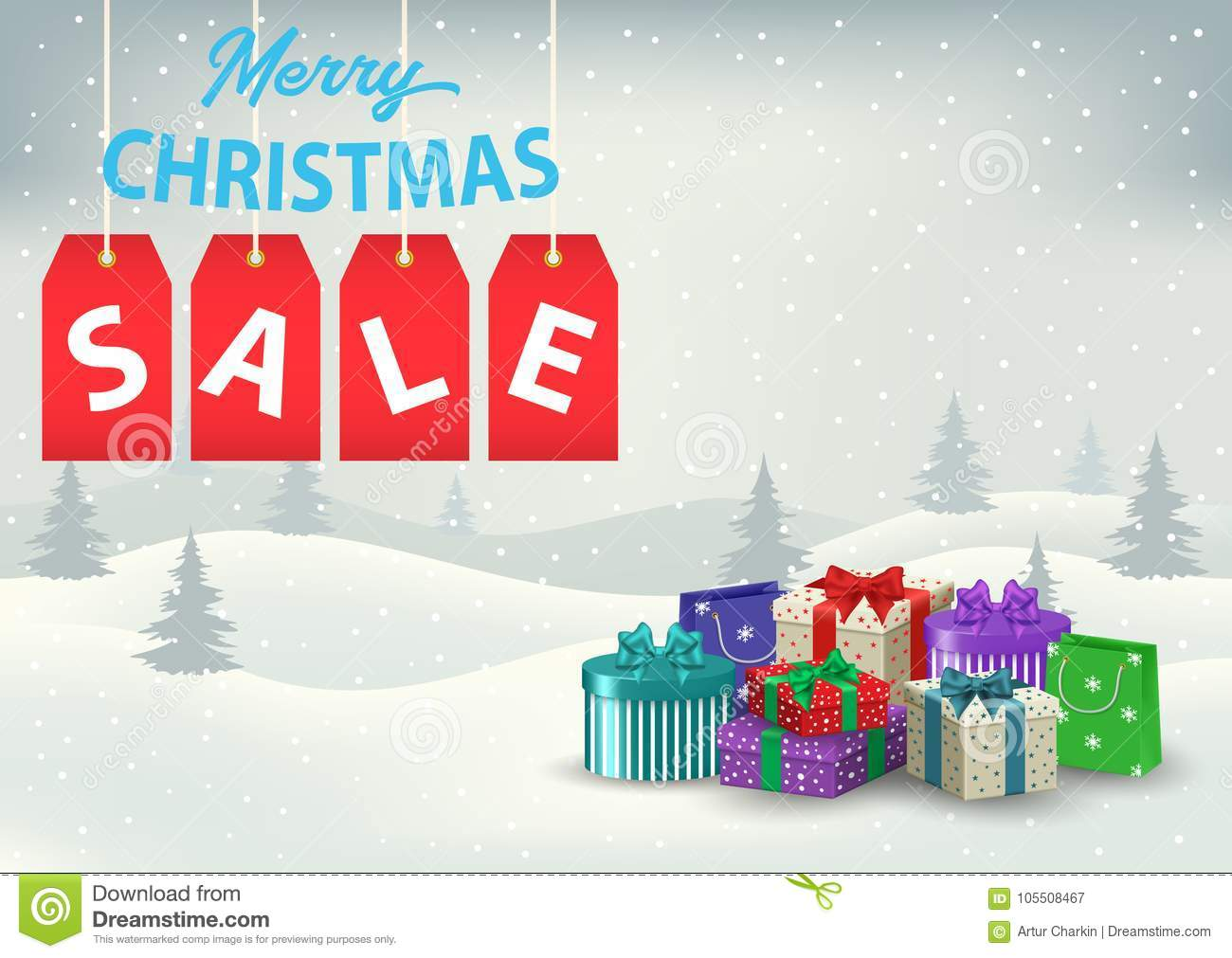 A Christmas Sale Poster With Colorful Gifts On A Background Stock ...