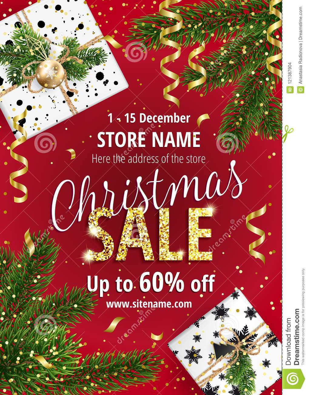 The Christmas sale. Red banner for web or flyer.