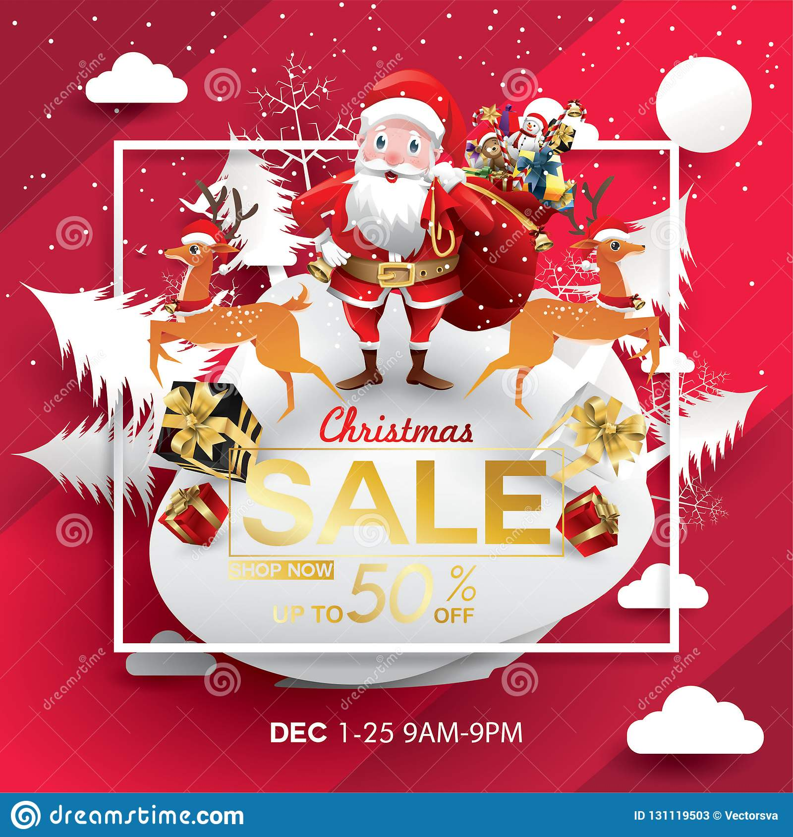 Christmas Sale Season Design Template Paper Art And Digital Craft