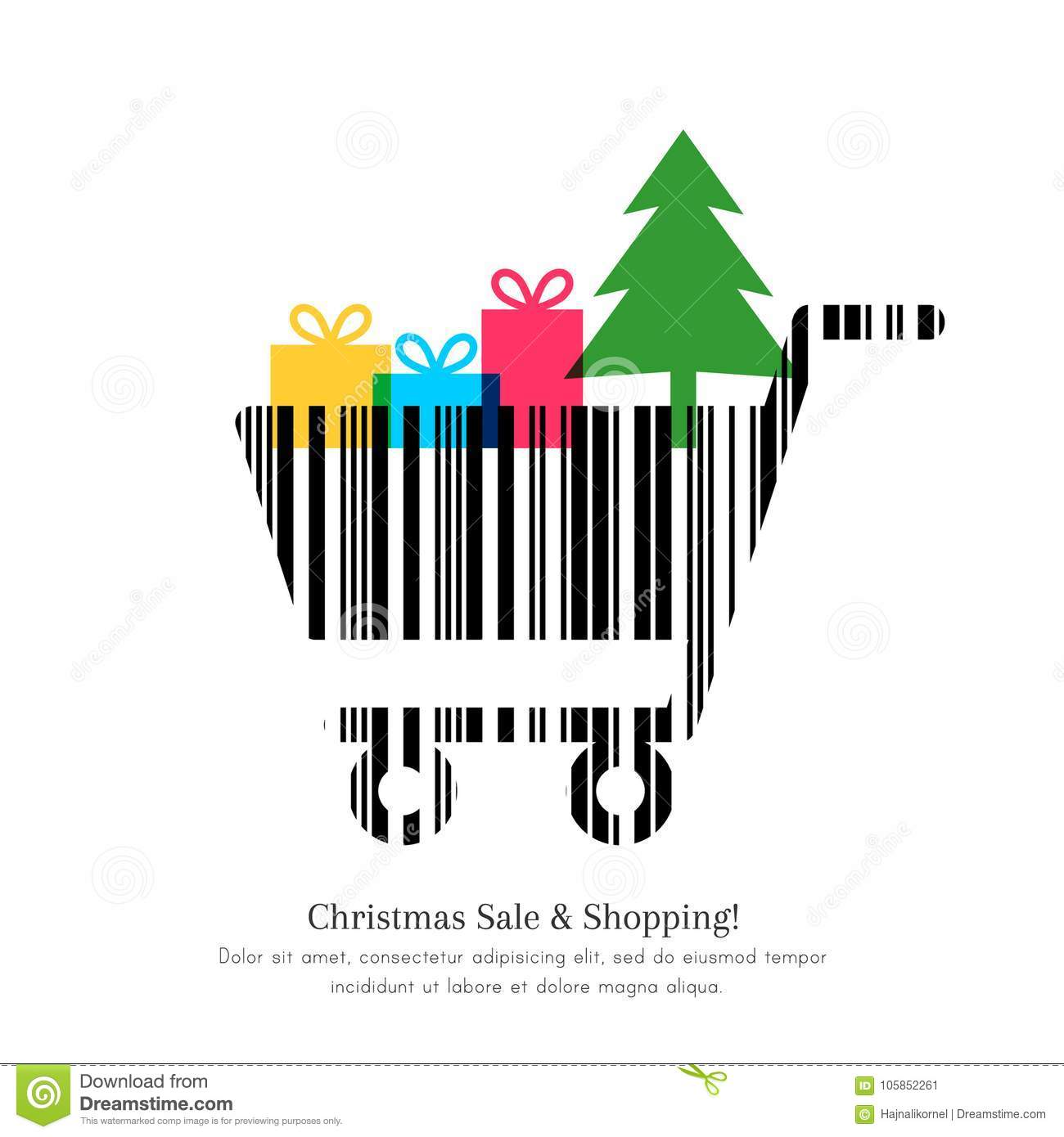 Christmas Sale And Shopping Concept Stock Vector - Illustration of ...