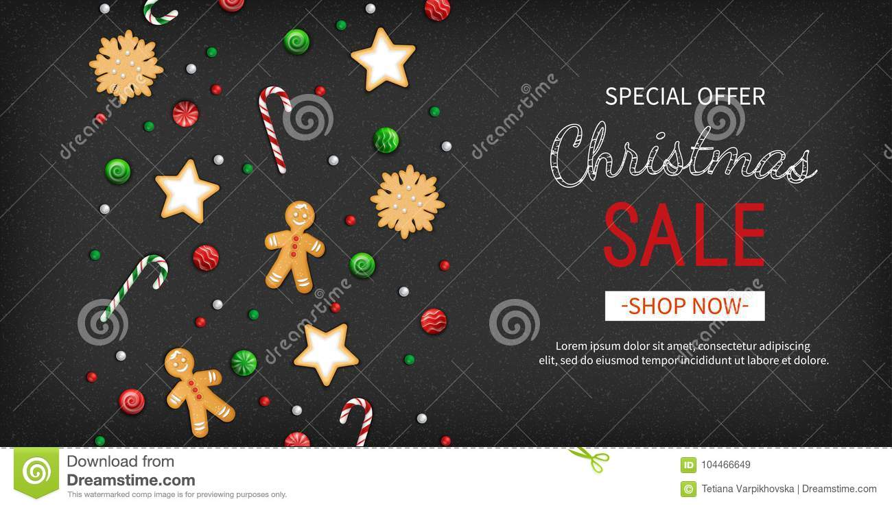 Christmas Sale Special Offer Horizontal Banner Winter Festive