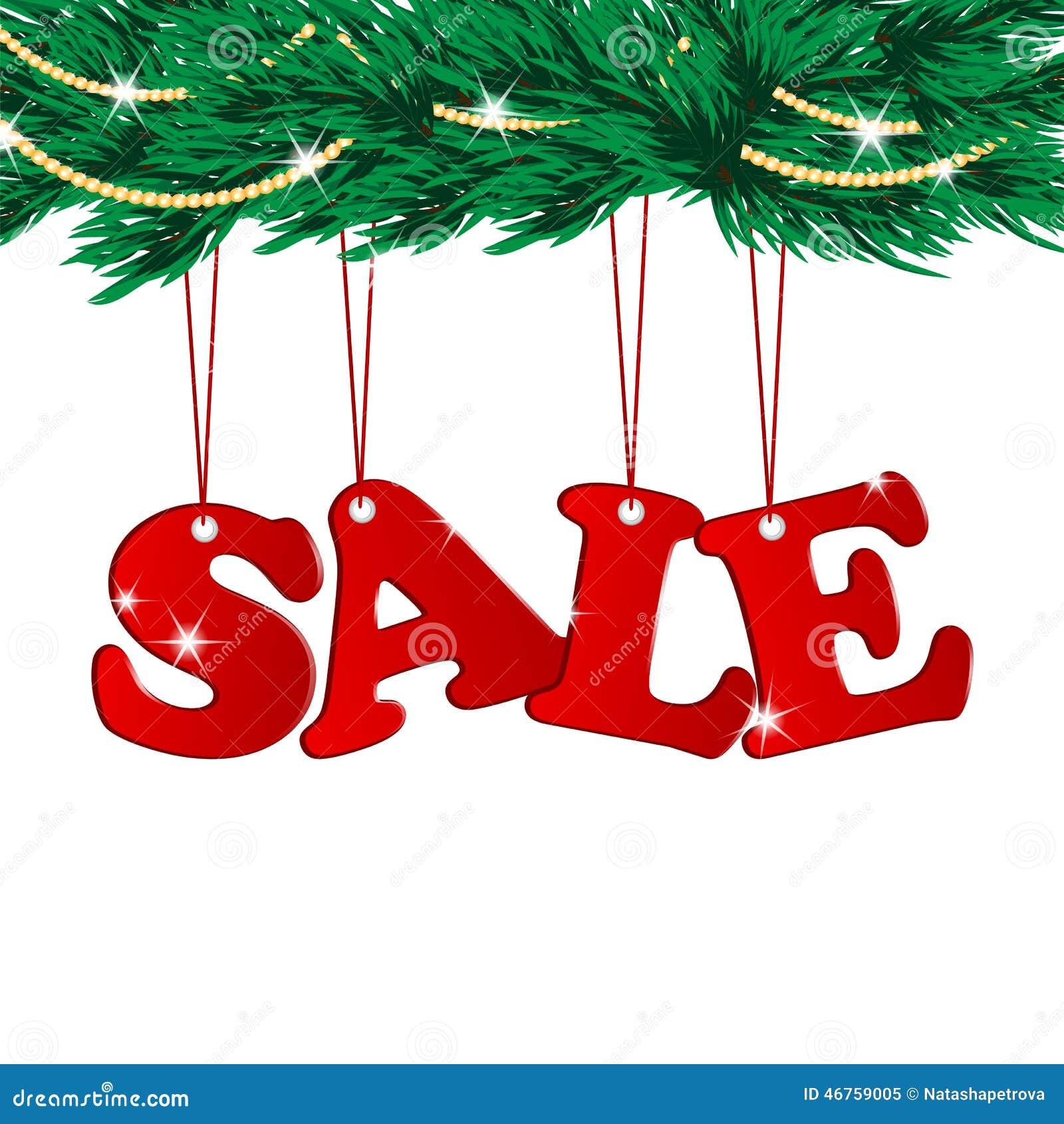 Christmas Sale Tags And Christmas Tree Stock Vector