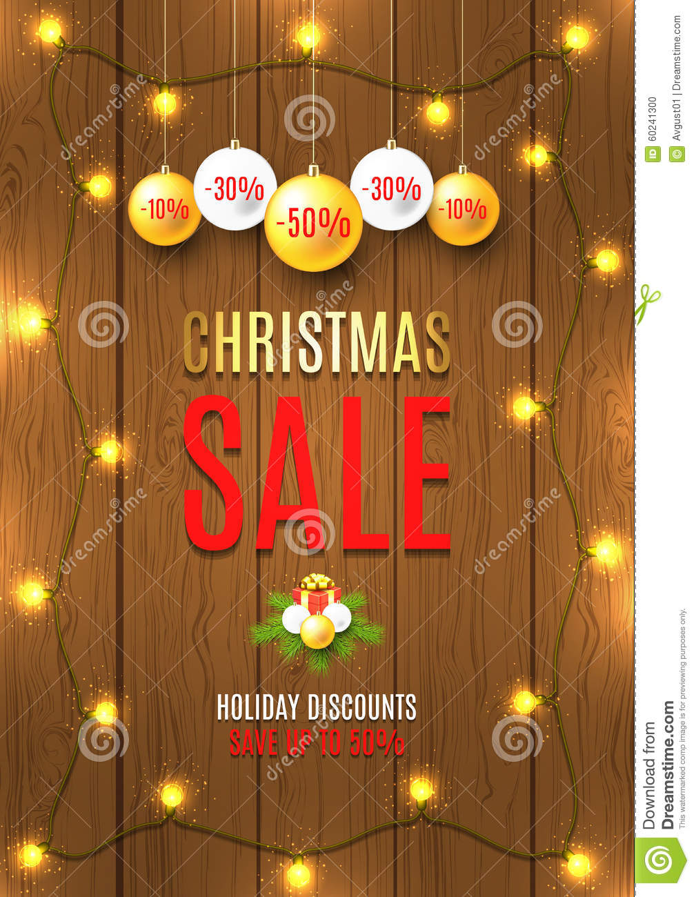 royalty free vector download christmas sale vector flyer with christmas lights - Christmas Light Sales
