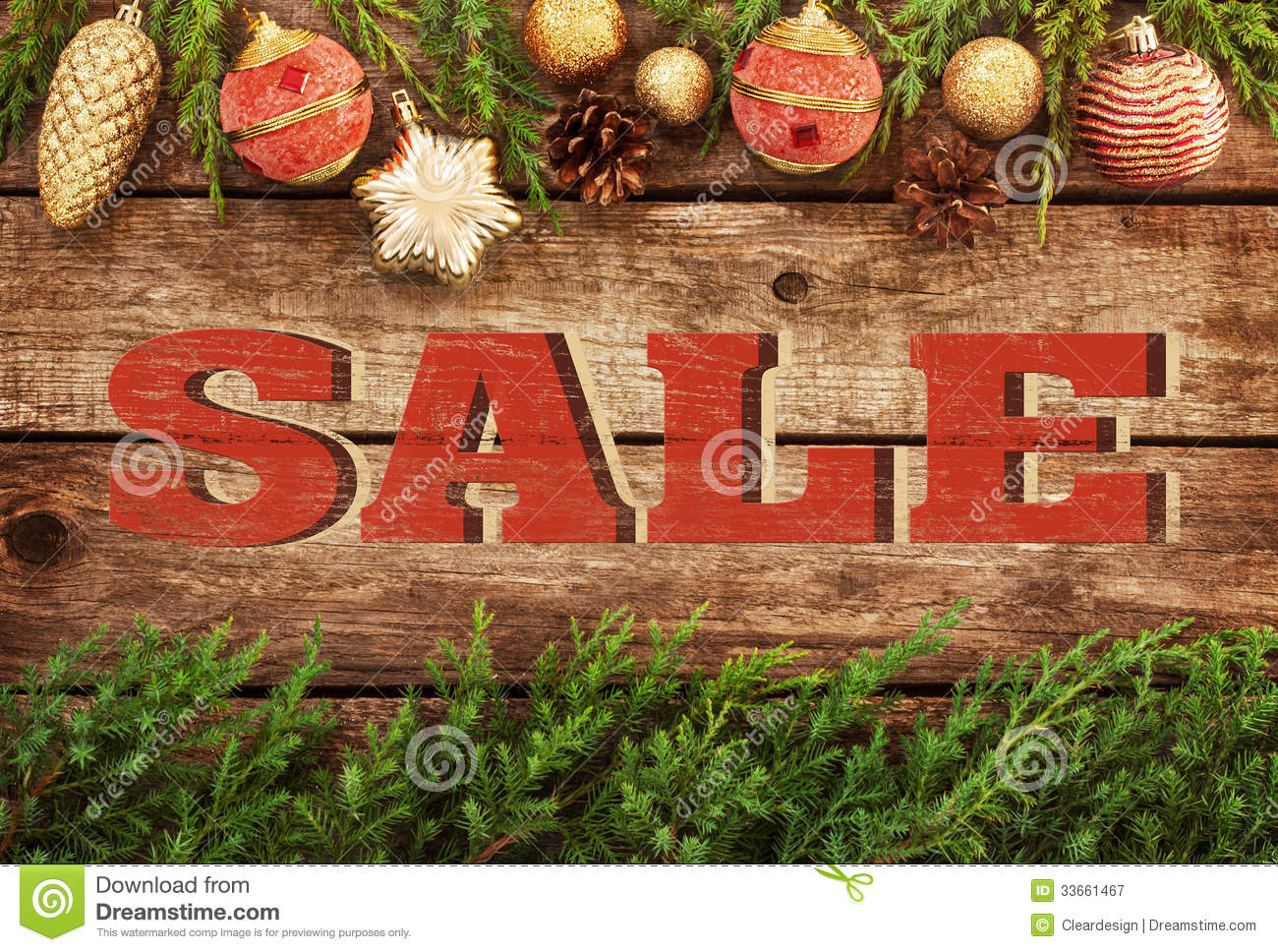 Christmas Sale Vintage Poster Design Royalty Free Stock
