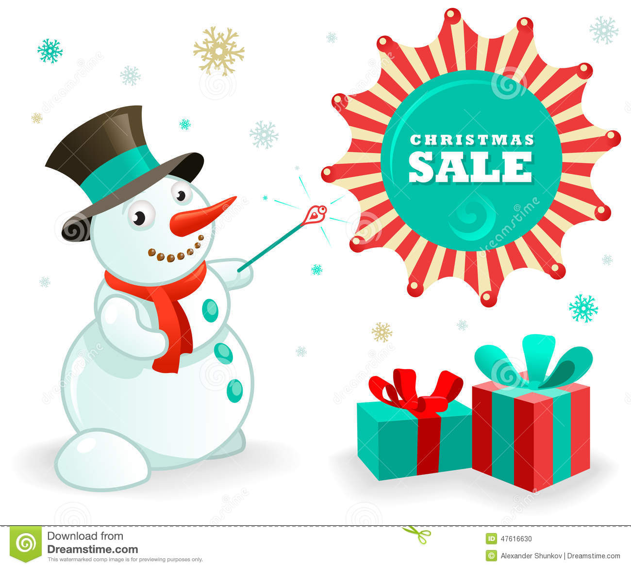 Christmas Sales Banner: Funny Snowman And Xmas Gifts Stock Vector ...