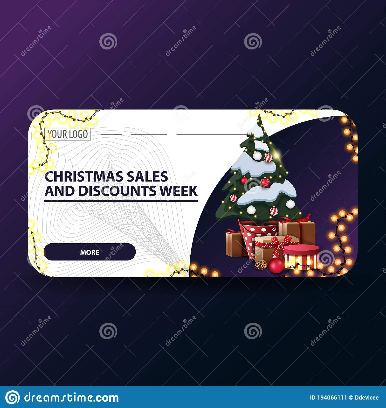Christmas Sales And Discount Week White Modern Christmas Discount Banners With Rounded Corners Garland And Christmas Tree Stock Vector Illustration Of Business Christmas 194066111