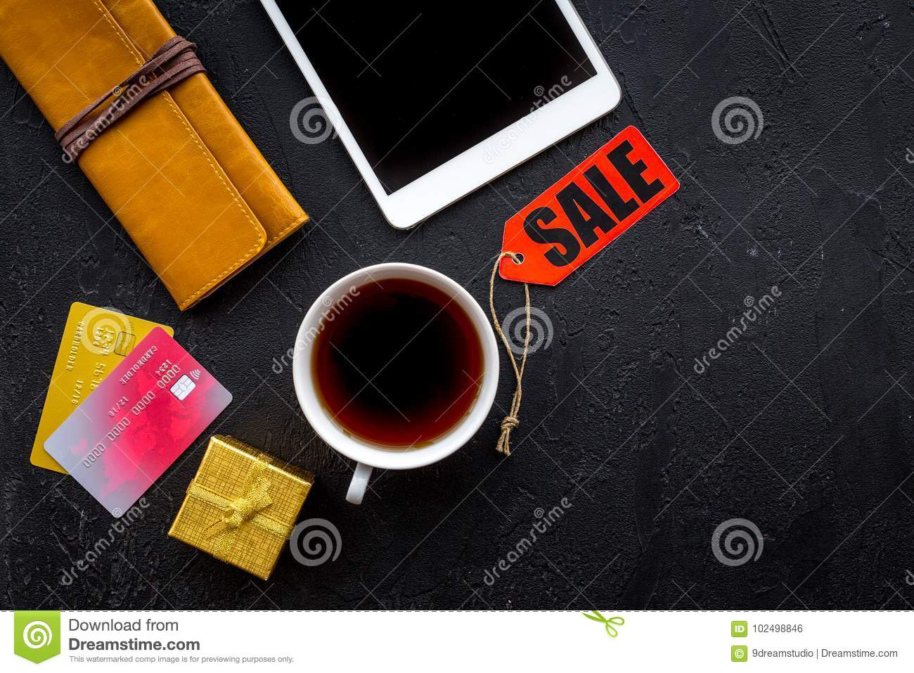 Christmas 2018 Sales For Online Gift Buying With Credit Card And Pad Black Desk Background Top ...