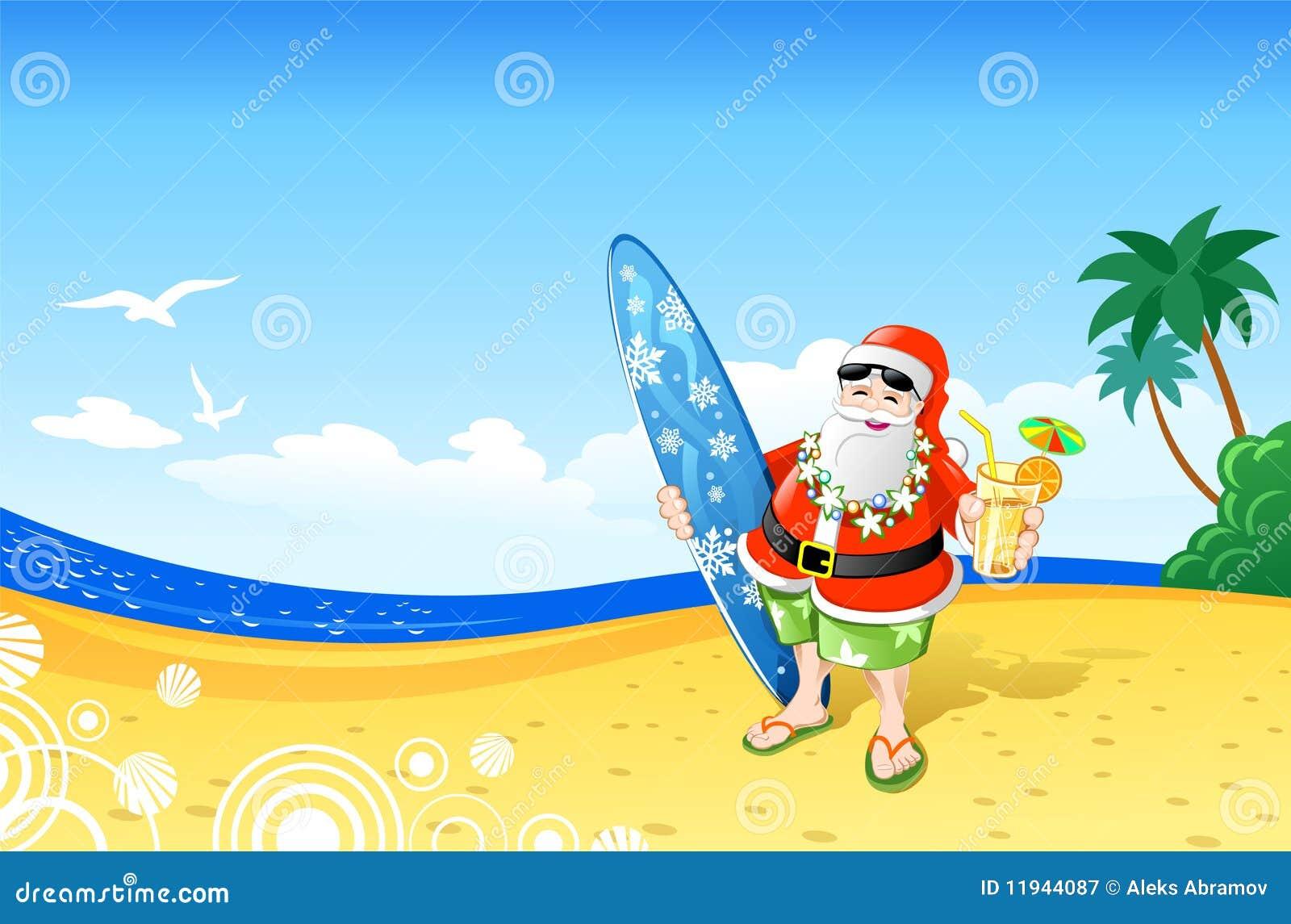 Download Christmas Santa On The Beach Stock Vector - Illustration of sand, surfboard: 11944087