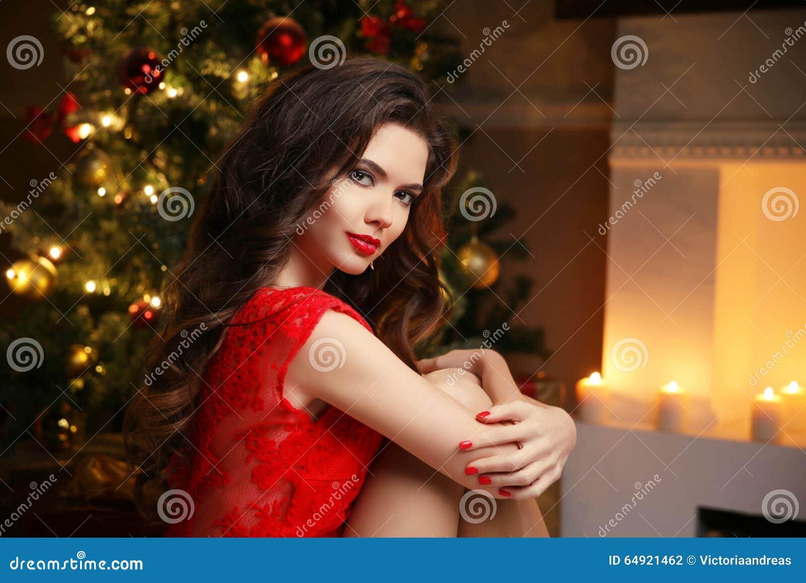 Christmas Hairstyles For Black Girls.Christmas Santa Beautiful Smiling Woman Model Makeup