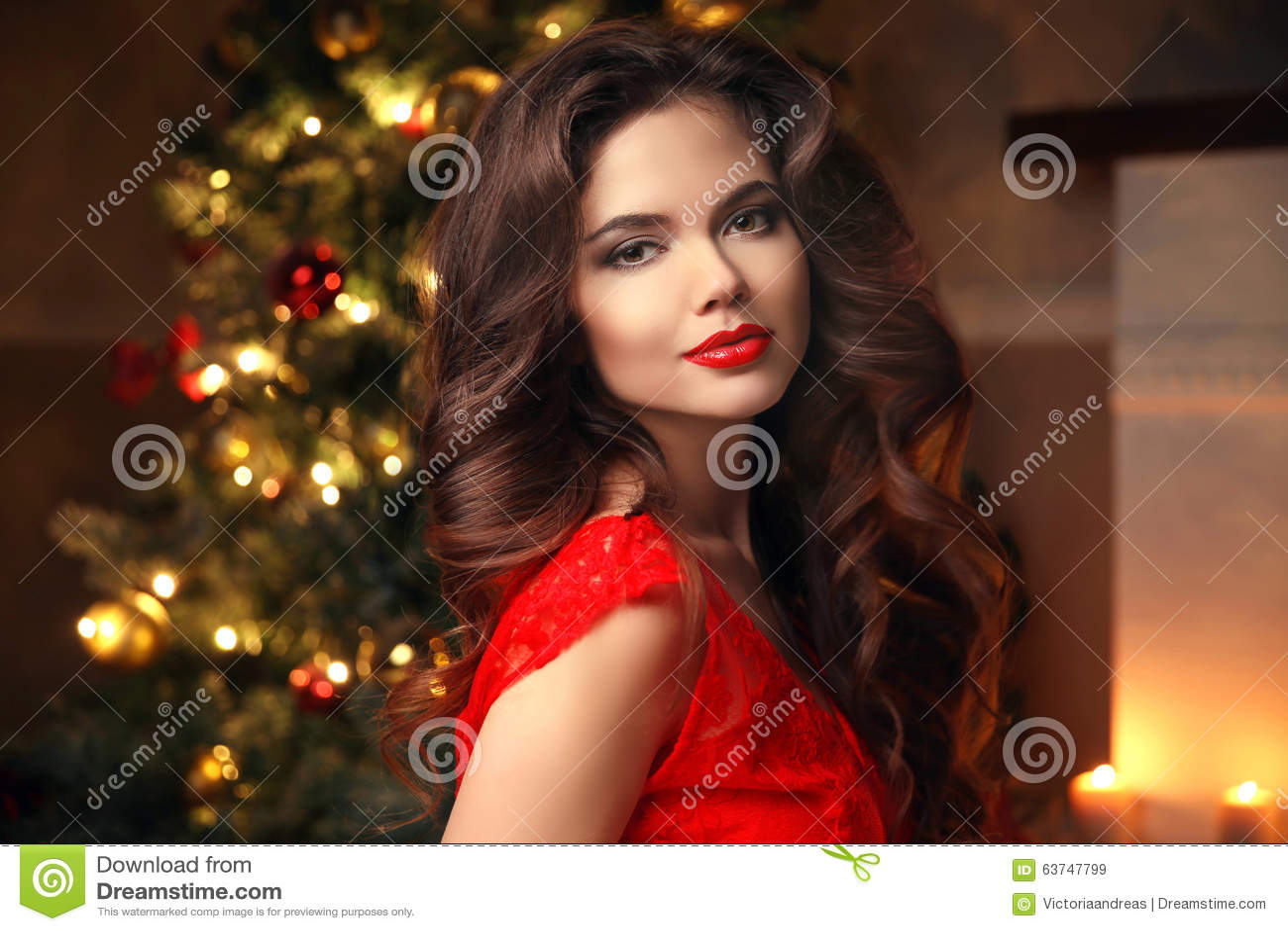 Christmas Model.Christmas Santa Beautiful Smiling Woman Model Makeup